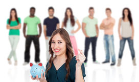 Cool young woman with a money box Royalty Free Stock Image