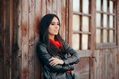 Cool Young Woman Outdoor Portrait Wearing Leather Jacket royalty free stock images