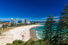 COOLANGATTA, AUS - MAY 01 2017, Coolangatta beach and Rainbow Ba Royalty Free Stock Images