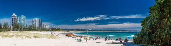 COOLANGATTA, AUS - MAY 01 2017, Coolangatta beach and Rainbow Ba Royalty Free Stock Photos