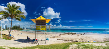COOLANGATTA, AUS - MAY 01 2017: Snappers rock and Rainbow Bay be Stock Images