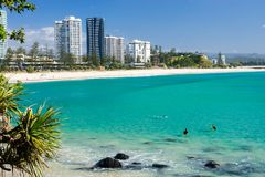 Coolangatta beach on a clear day looking towards Kirra Beach on the Gold Coast royalty free stock photography