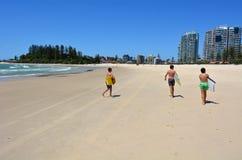 Coolangatta - Gold Coast Queensland Australia. COOLANGATTA - OCT 07 2014:Boogie board surfers in Coolangatta beach.Coolangatta was one of the earliest Royalty Free Stock Photography