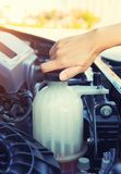 Coolant car check. Asian girl checking level of coolant car engine Royalty Free Stock Photos