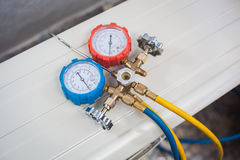 Coolant gauges. Gauges for coolant and air technician Royalty Free Stock Images