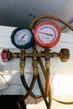 Coolant gauges, measuring equipment for investigate and refueling of air conditioners. Pressure Measurement – Manometers.  stock photo