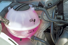Coolant Tank. With pink antifreeze in the engine Royalty Free Stock Image