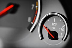 Coolant temperature gauge. Color detail with the coolant temperature gauge in a car Royalty Free Stock Image
