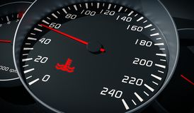 Coolant warning light in car dashboard. Engine overheating control. Royalty Free Stock Photography