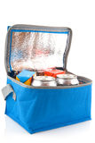 Coolbox with beverages. Blue coolbox with tins and packets beverages Stock Images