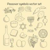 Coolection dei simboli di scarabocchio del pesach ebreo di festa Immagine Stock