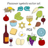 Coolection of doodle symbols of Jewish holiday Passover Stock Photos