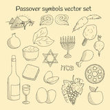 Coolection of doodle symbols of Jewish holiday Passover Stock Image