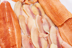 Cooled fish fillet of tilapia and salmon on store Stock Image