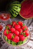 Cooled watermelon pie Stock Images