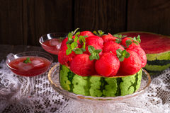 Cooled watermelon pie Royalty Free Stock Photos
