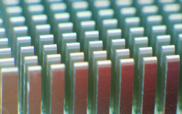 Cooler radiator. Closeup of an alluminium cpu cooler i stock photo