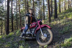 Coolest biker in the woods Royalty Free Stock Photography