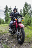 Coolest biker in the woods Royalty Free Stock Images