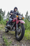 Coolest biker in the woods Royalty Free Stock Photo