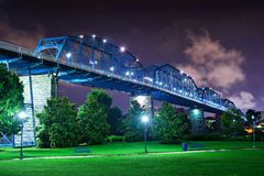 Coolidge Park in Chattanooga. Walnut Street Bridge over Coolidge Park in Chattanooga, Tennessee royalty free stock photo