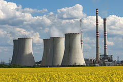 Coolin tower and chimney of coal power plant Stock Image