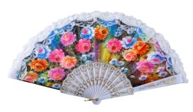 Cooling. Open painted hand made fan Stock Photos