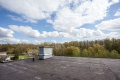 Cooling air conditioning. On an flat roof there cooling air conditioning Royalty Free Stock Image