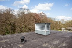Cooling air conditioning. On an flat roof there cooling air conditioning Royalty Free Stock Images