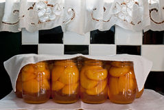 Cooling Home Canned Peaches Royalty Free Stock Photos