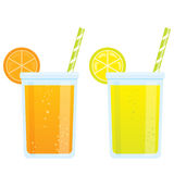 Cooling cartoon beverages cold refreshing drinks of orange and l. Cooling cartoon tonic beverages cold refreshing drinks of orange and lemon soda juice Stock Images