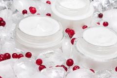 Cooling effect skin care creams with ice cubes and red berries. Natural skin care products with cooling effect. Glass jars of cream surrounded by ice cubes and Stock Images