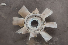 Cooling fan of broken car with plastic blades radiator fan Royalty Free Stock Images