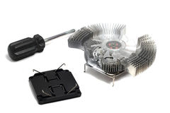 Cooling Fan for PC and screwdriver Royalty Free Stock Photo