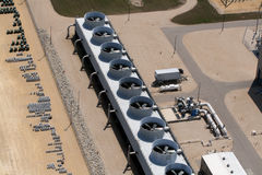 Cooling fans at power plant. Aerial view overlooking huge cooling fans at a power plant Stock Photography
