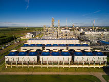 The cooling fans and units for nitric acid production on fertilizer plant. Aerial view Stock Image
