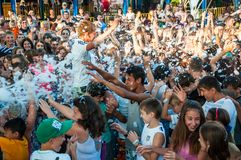 Cooling foam shower on the holiday of Ivan Kupala Royalty Free Stock Images