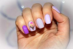 Cooling manicure with ice cream royalty free stock photography