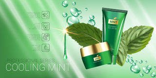 Cooling mint skin care series ads. Vector Illustration with mint leaves, smoothing cream tube and container Royalty Free Stock Photo