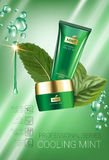 Cooling mint skin care series ads. Vector Illustration with mint leaves, smoothing cream tube and container. Vertical poster Royalty Free Stock Image