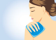 Cooling pack gel on shoulder area for relief of pain. Cooling pack gel on shoulder of woman for relief of pain. Illustration about first aid equipment Stock Images