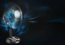 Cooling for summer. Electric fan on black background illustration Stock Photos