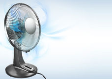 Cooling for summer. Electric fan on bright background illustration Stock Photos