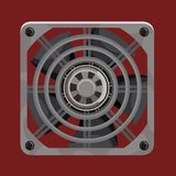 Cooling system fan behind grey metal grille. On red background Royalty Free Stock Images