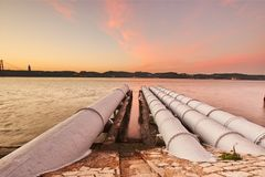 Cooling system pipeline of a electricity powerhouse Stock Photography