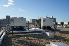 Cooling systems. On top of the building Royalty Free Stock Images