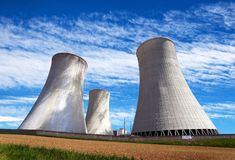 Cooling tower with clouds, nuclear power plant Royalty Free Stock Photos
