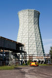 Cooling Tower of coal mine shaft. Named CSM in Ostrava, Czech Republic, as technological equipment for cooling the air in the mine stock photo