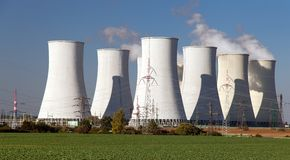 Cooling tower of Nuclear power plant Royalty Free Stock Photo