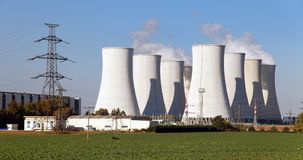 Cooling tower of Nuclear power plant Royalty Free Stock Images